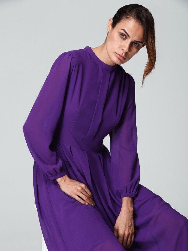 Purple Plain Swing Evening Midi Dress