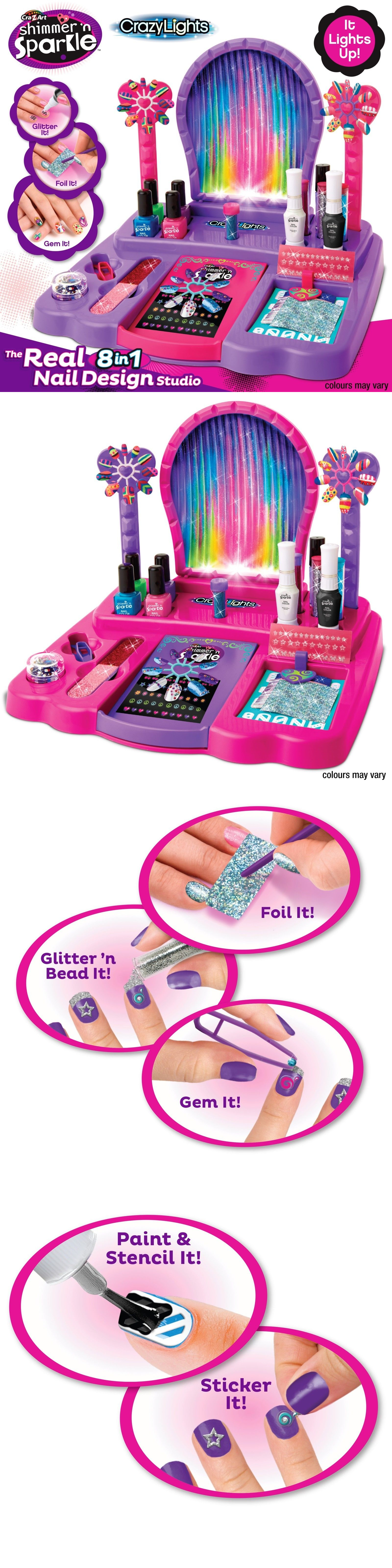 Craft Kits 116655: Nail Salon Kit Kids Girls Cosmetics Nail Arts ...