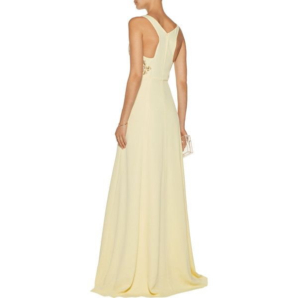 Marchesa Notte - Embroidered Crepe De Chine Gown (€510) ❤ liked on ...