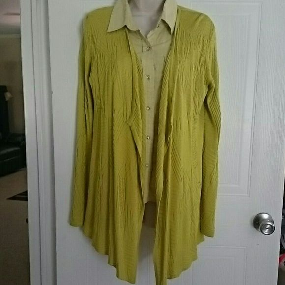 """Chartreuse Cardigan Nice chartreuse long sleeve cardigan, no button front. Has long tails in the front. Really nice knit design. Nice and stretchy. Go great with jeans or a skirt. Size is small/Tall but it's so stretchy it fits me, I wear a large. Long sleeves measure 26"""" from shoulder seam. Measures 27"""" from back neck. 32"""" from neck edge to front tails. New with tag. Fontana Sweaters Cardigans"""