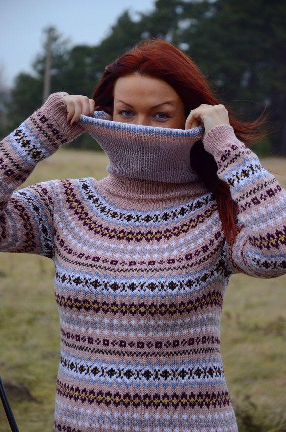 Fair Isle sweater Dusty rose sweater Merino sweater Women's ...
