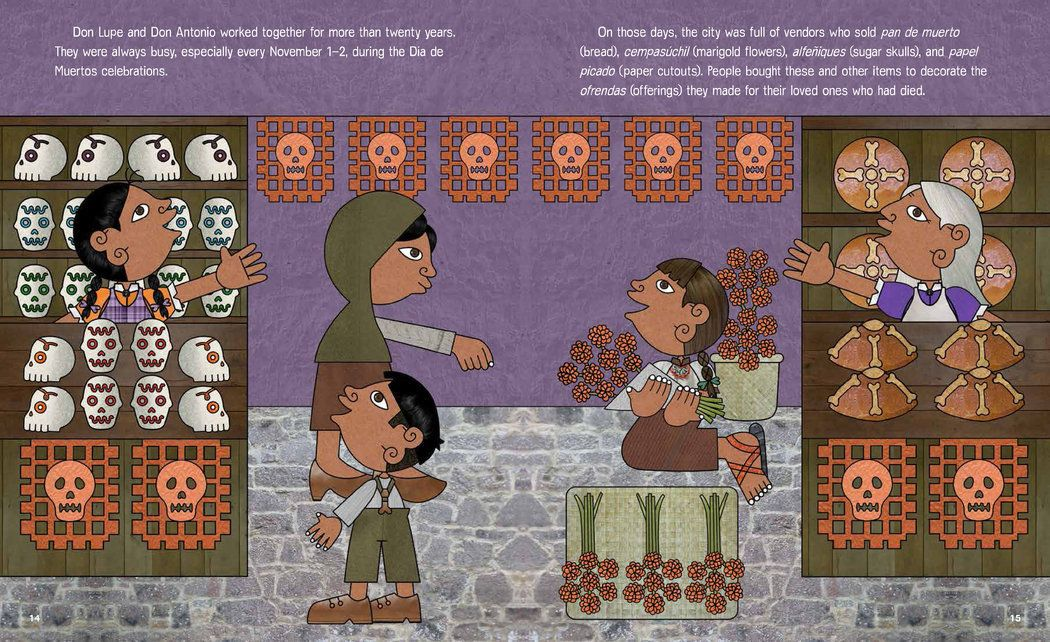 """Funny Bones: Posada and His Day of the Dead Calaveras"": This biography of the Mexican artist, who popularized calaveras both as a form of political protest and a popular entertainment, integrates Posada's own prints with Tonatiuh's winsome, cleverly layered compositions. (Illustration from ""Funny Bones"")"