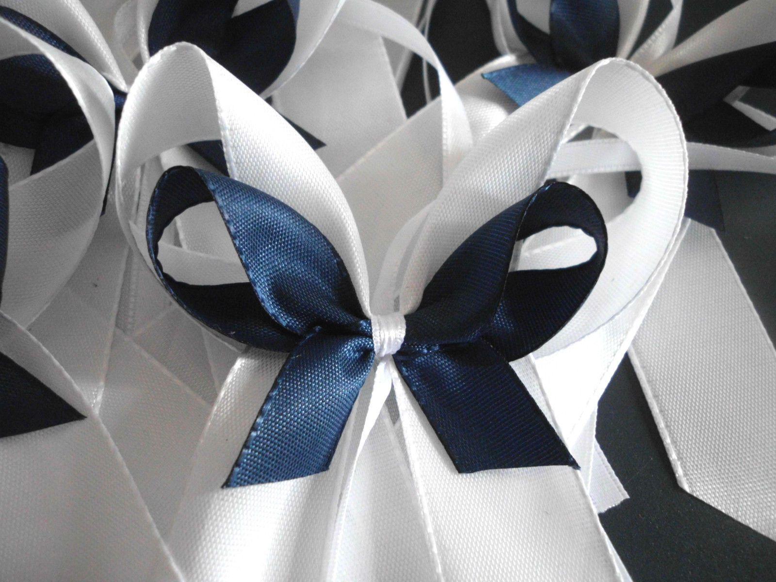 25 antennenschleifen autoschleifen hochzeit weiss blau dunkelblau royalblau. Black Bedroom Furniture Sets. Home Design Ideas