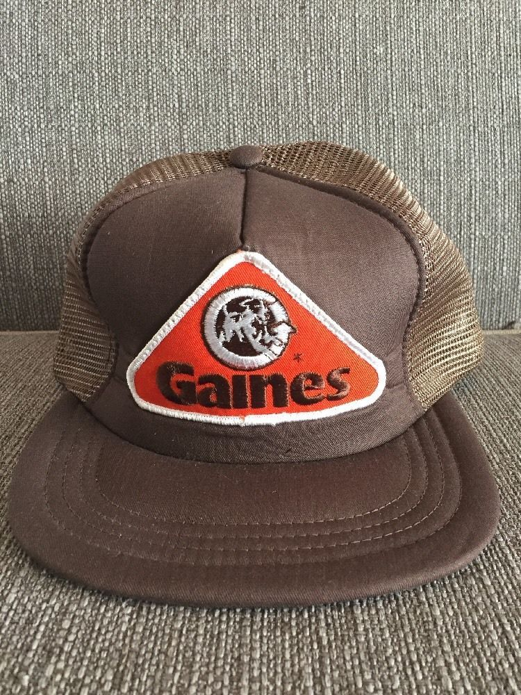65d0e8b1cf66c Vintage Gaines Dog Food Trucker Hat Retro 80 s Snap Back Mesh Pet Brown