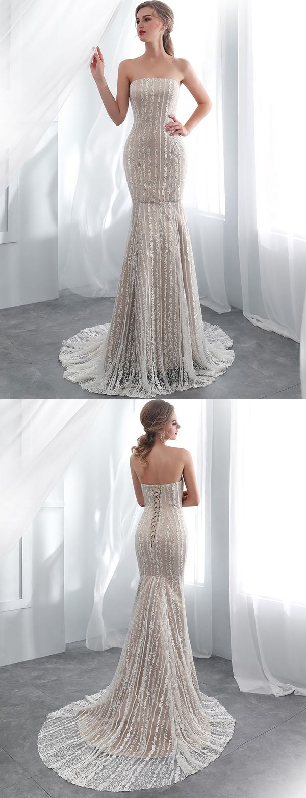 Stunning mermaid strapless dark champagne long prom dress with lace
