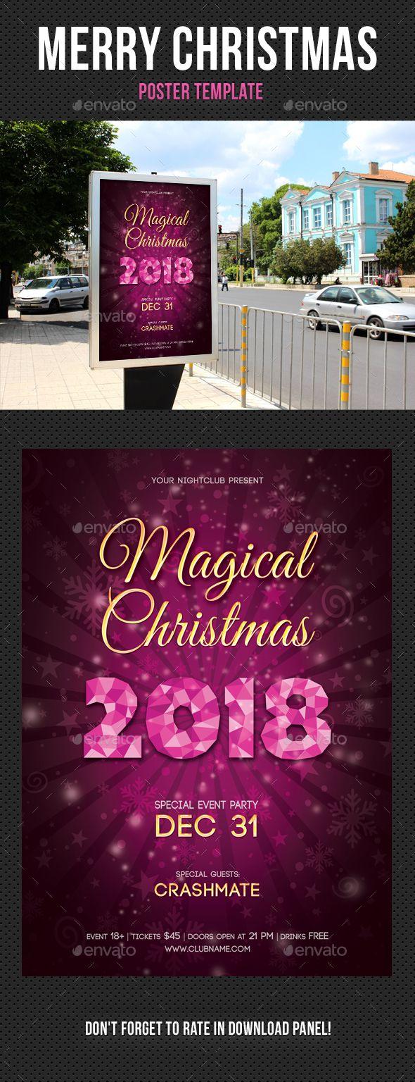 Merry Christmas Poster Template V  Christmas Poster Template