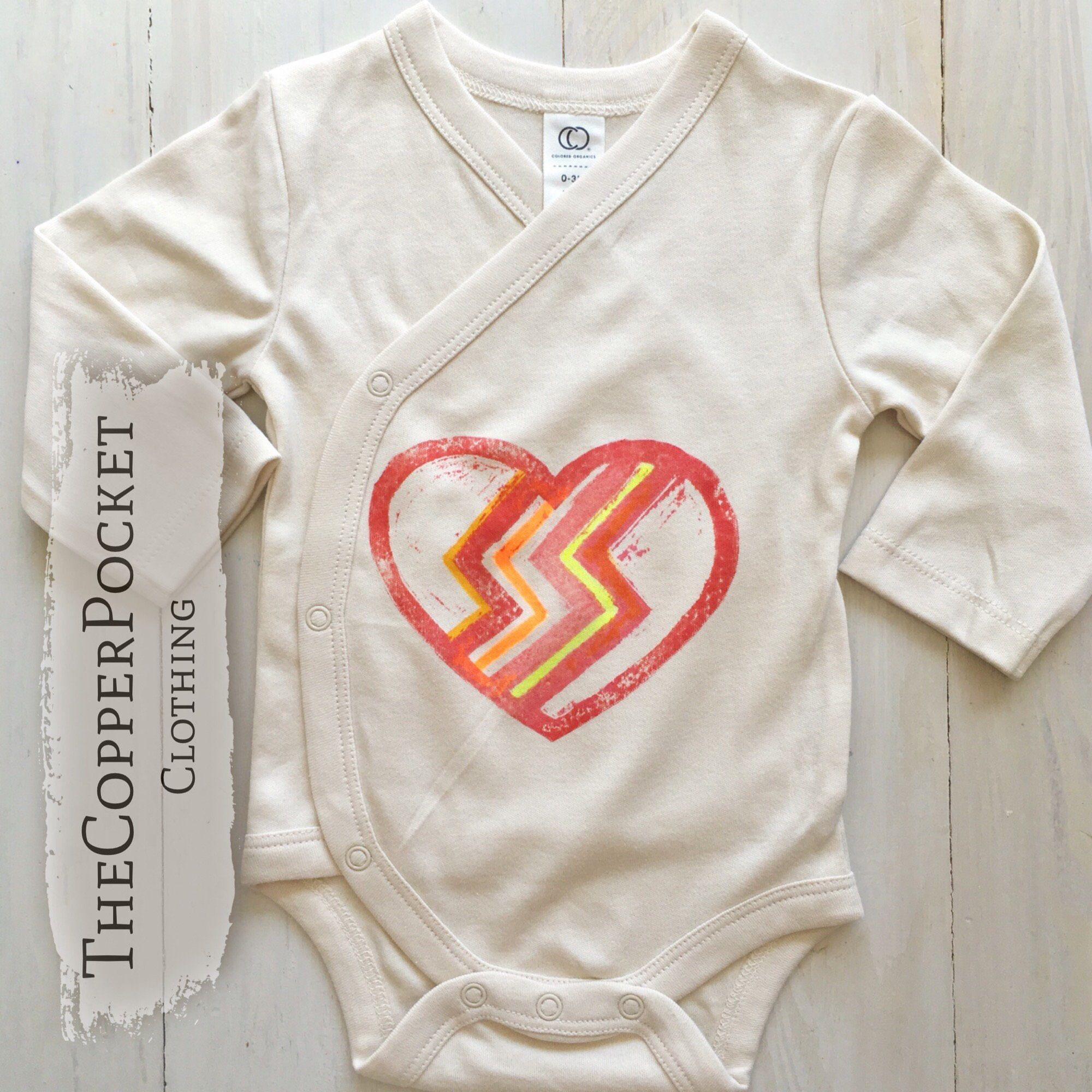 Retro heart organic baby clothes onesie bodysuit kimono wrap vegan