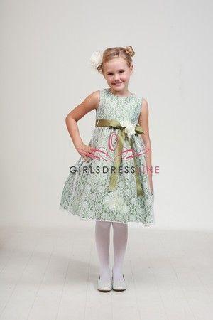 Sage/Sage Elegant Lace Flower Girl Dress B1132-SS