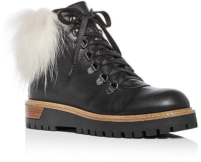d3fab313596 Pokemaoke Women s Sporty Leather   Fox Fur Hiking Booties