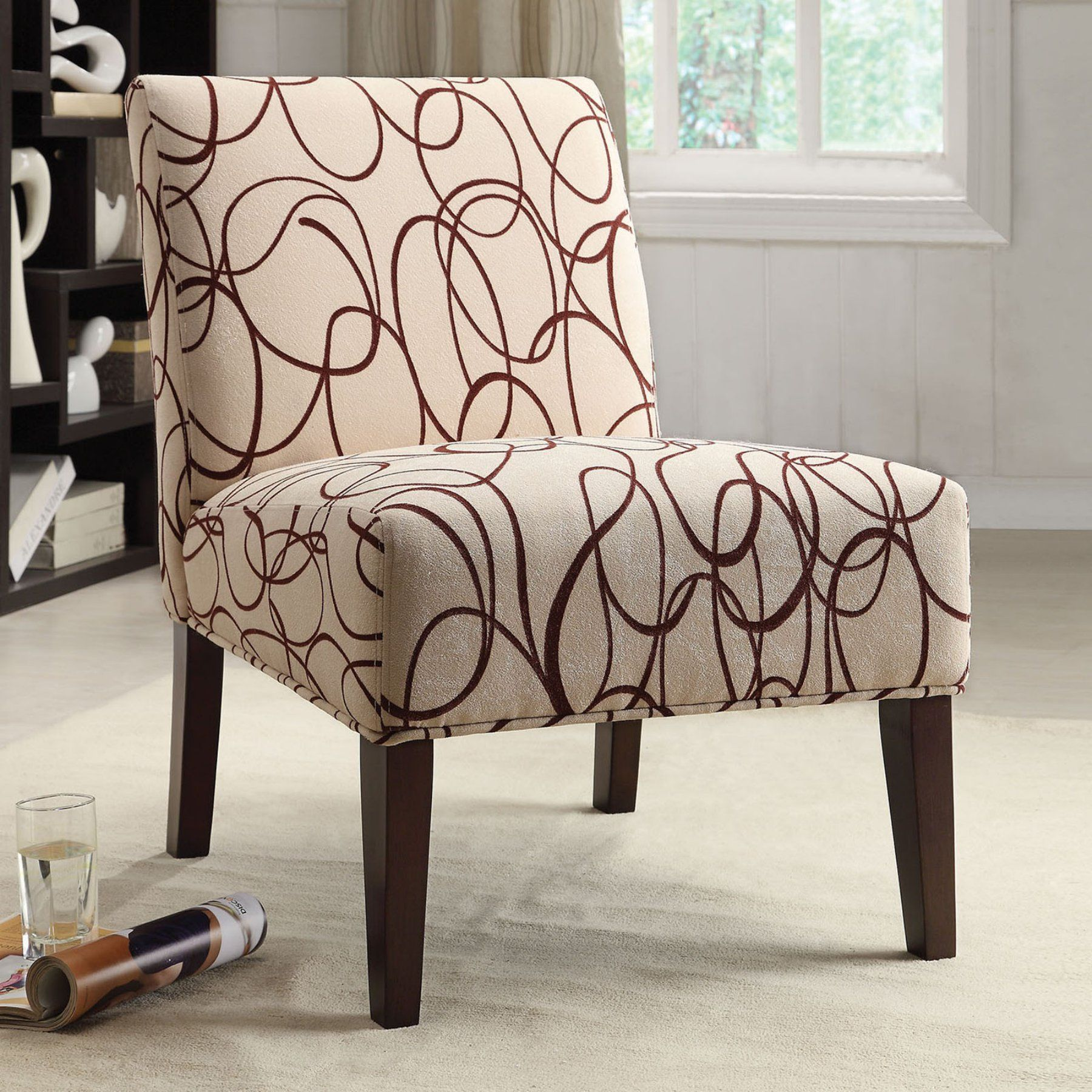 Acme Furniture Aberly Accent Chair Scribble Fabric & Espresso