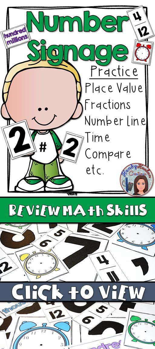 Number Posters for Math Skill Review | Math skills, Maths and ...