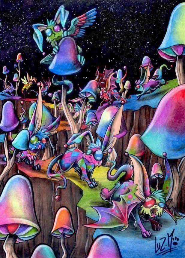 Картинки психоделические грибы, коровах смешные открытка