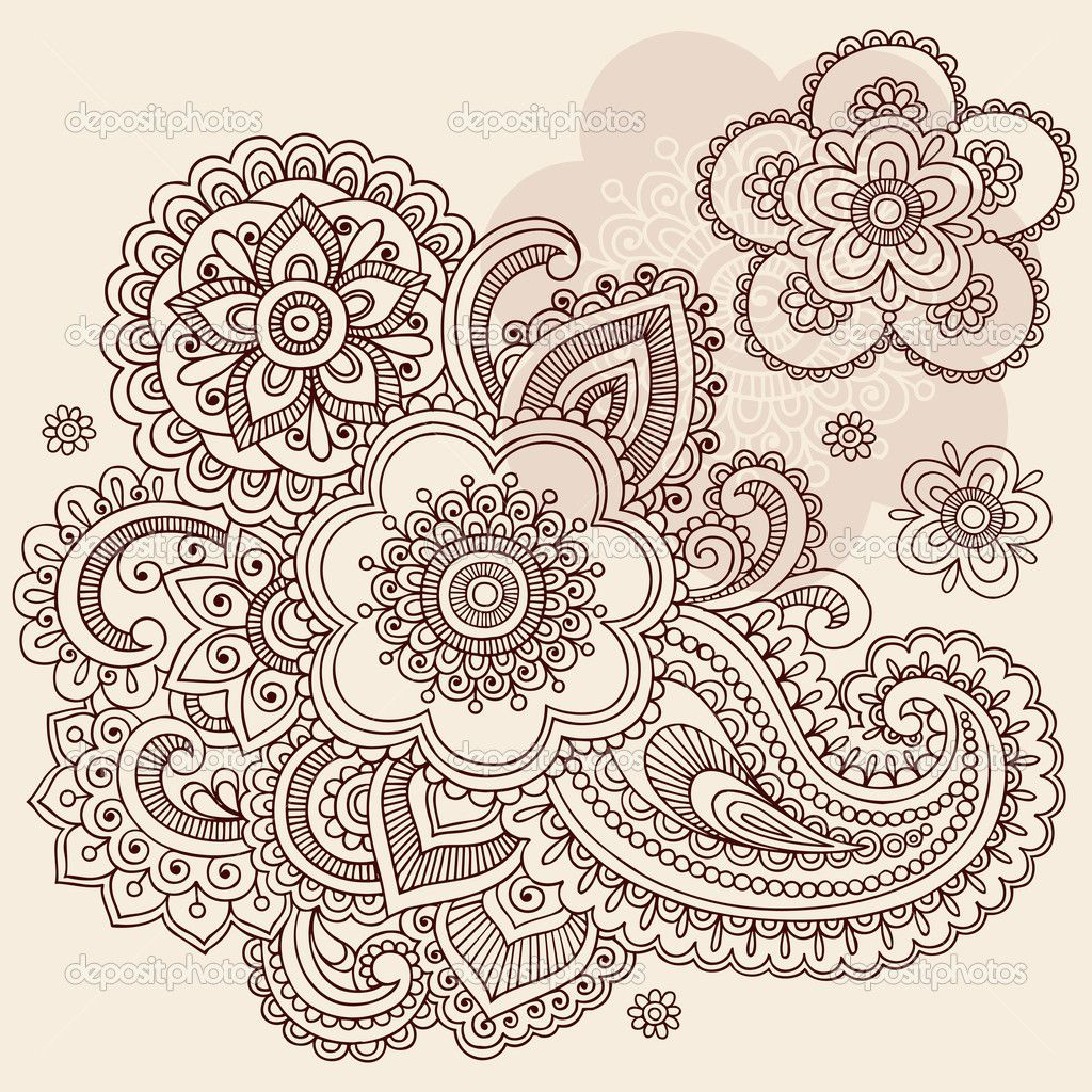 Paisley Flowers Henna Tattoo Design: Intricate Design Coloring Pages