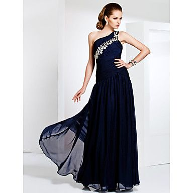 Free Measurements ! One Shoulder Floor-length Chiffon Evening/Prom ...