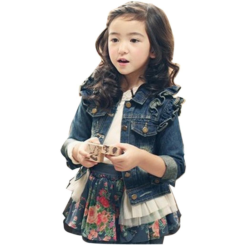 Free shipping buy best new lapel girls denim jacket lace