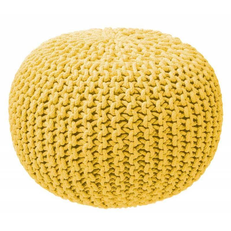 Pouf tricot jaune   Déco en 2019   Pouf, Tricot et Tricot jaune 4d186b19a85