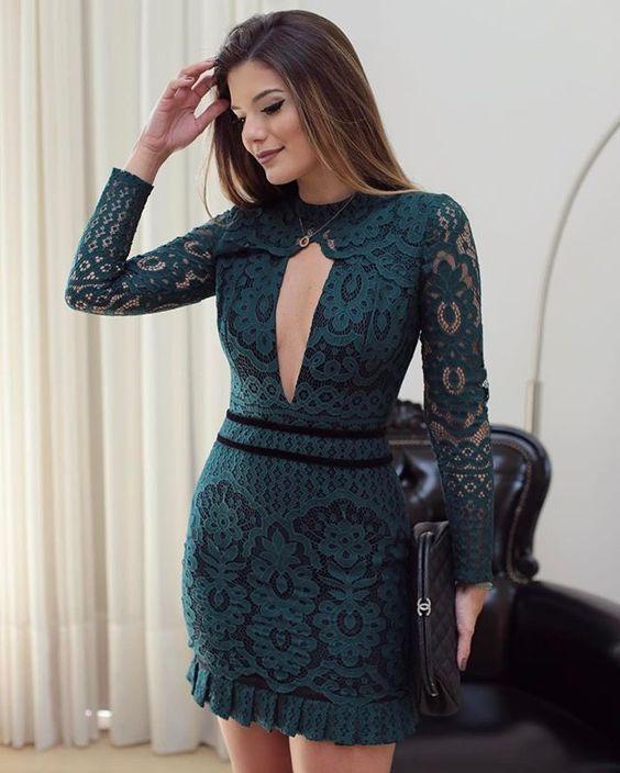 723e52229 O tom de verde mais lindo do inverno! ♥ Vestido de renda @unicas_store ♥️