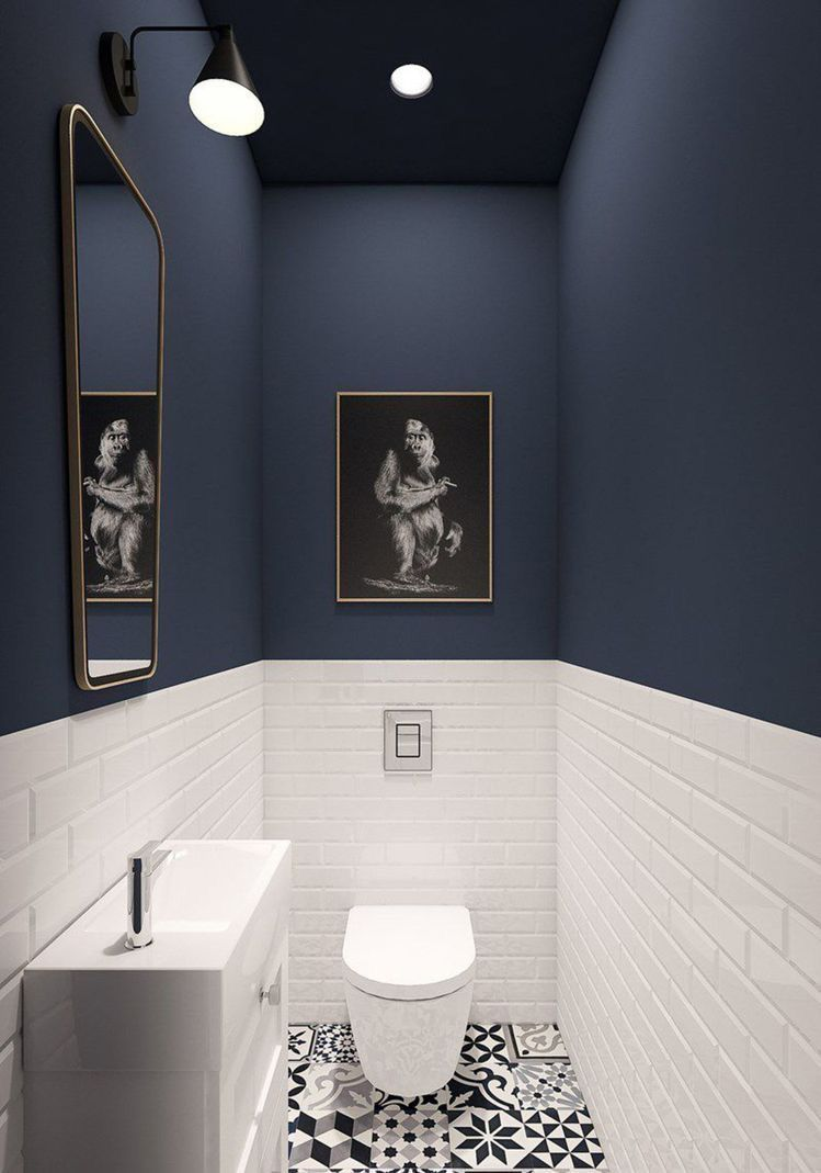 Cloakroom Bathroom Navy Blue White Bathroom Bathroom Small Toilet Room Small Bathroom Makeover Bathroom Interior Design