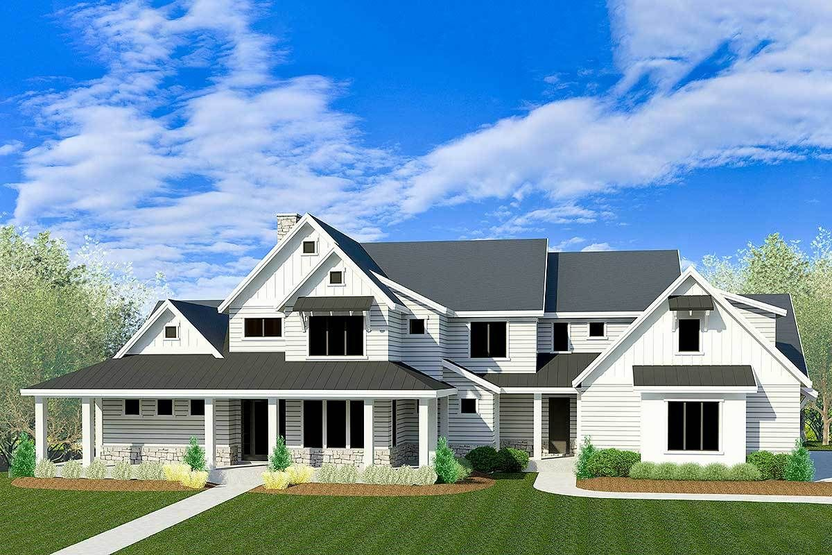 Plan 290099IY Luxury Modern Farmhouse with Sport Court in