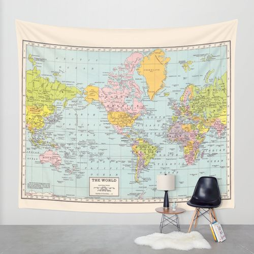 World map wall tapestry by catherine holcombe society6 map ology world map tapestry wall hanging vintage map pastel by mapology gumiabroncs Images