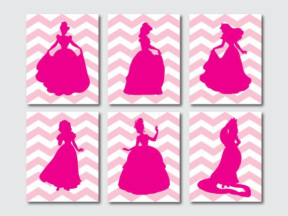 Princess Wall Art princess silhouettes - set of 6 - nursery or girls bedroom wall