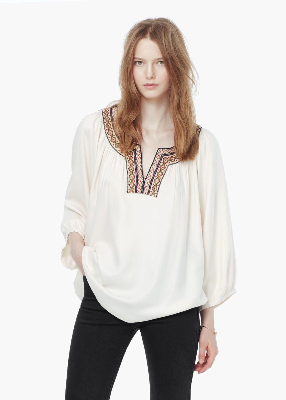 Blusa aplique bordado | MANGO