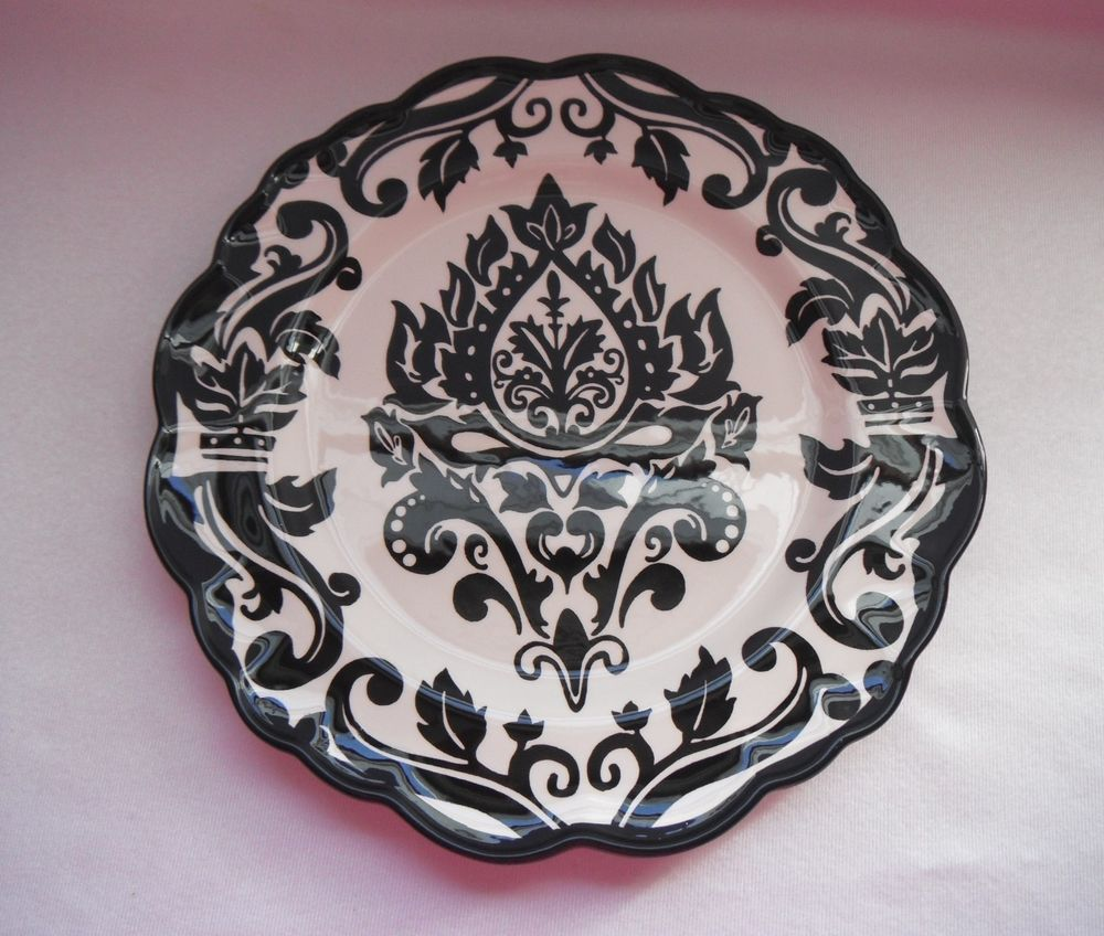 222 fifth damask bold black & white salad plate - scrolls & torches ...