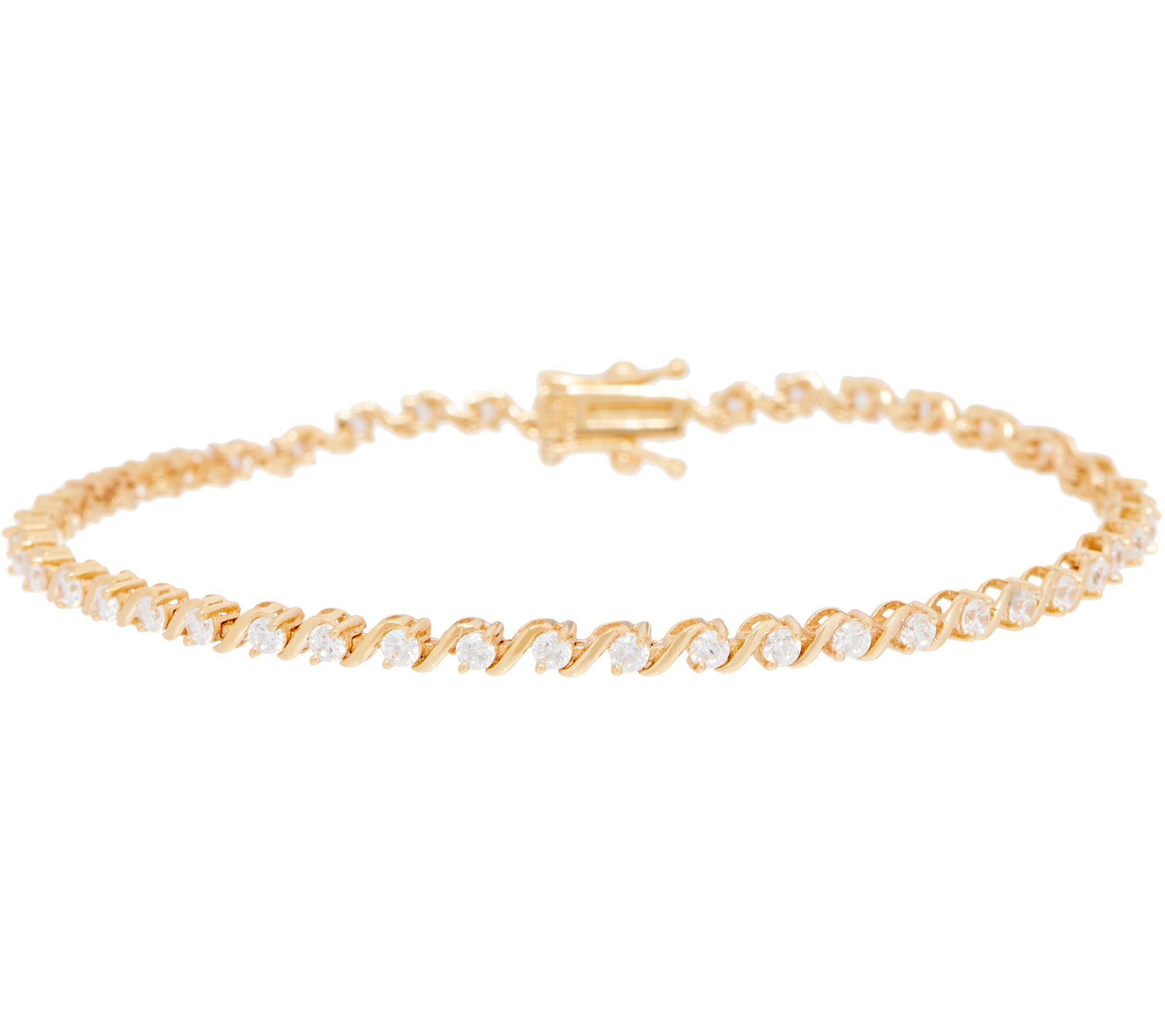 Diamonique S Bar Tennis Bracelet 14k Gold Qvc