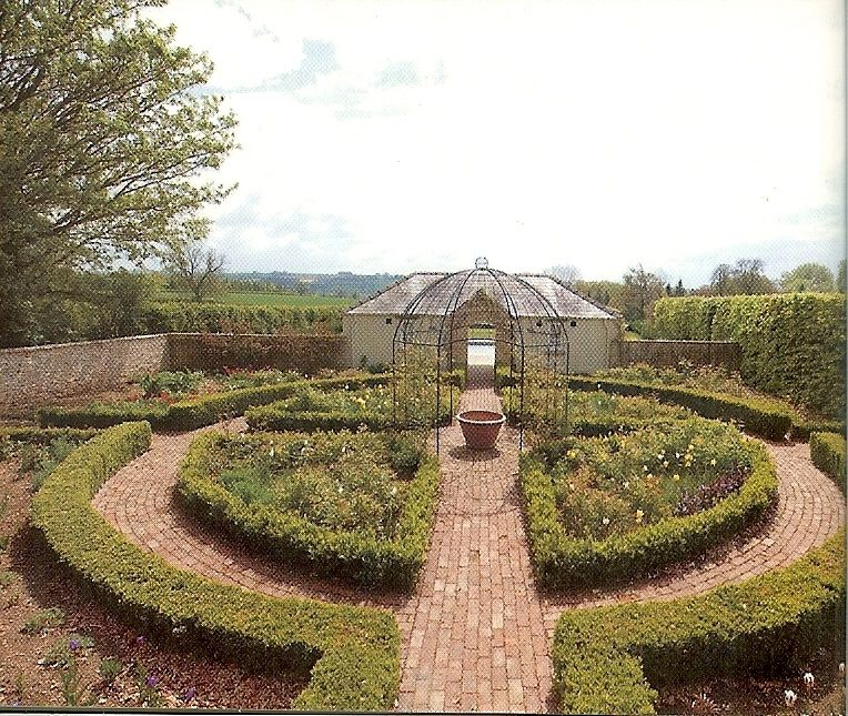 layout as formal vegetable garden with greenhouse or shed ...