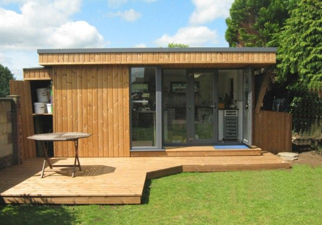 Garden office with shed and veranda granny flats for Outside office shed