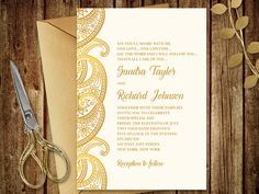 Gold Wedding Invitation Paisley Printable Wedding Invitation