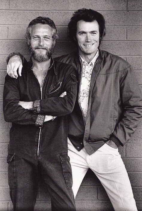 (Paul Newman and Clint Eastwood meet by chance outside a motel in Tucson, Arizona, 1972 ) Twitter