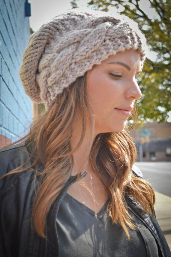 65f1012154b71a Women's Handmade Cable Knit Beanie Light Tan, Slouchy Hat Beanie, Beret,  Oversized Chunky Hat, Slouch Beanie Handmade, Winter Accessories