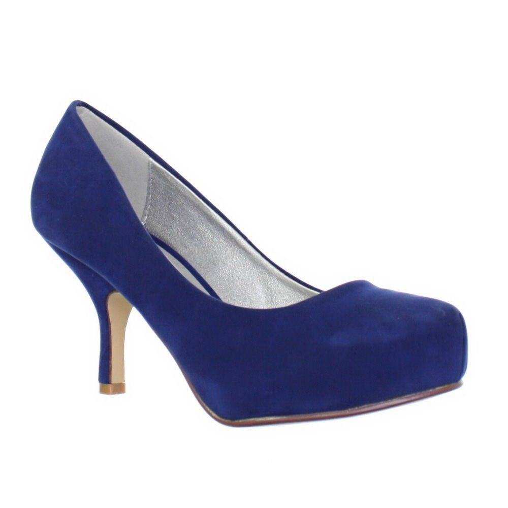 Womens Royal Blue Low Kitten Heel Court Shoes SIZE 3-8: Amazon.co ...