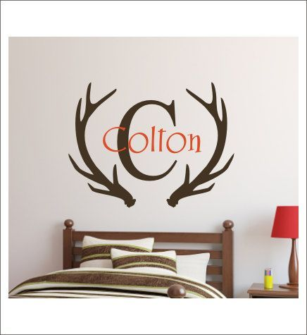 awesome Personalized Antlers Decal Boys Hunting Decal Wall Decal Vinyl Decal Boys Nursery Boys Bedroom Vinyl  sc 1 st  Pinterest & Personalized Antlers Decal Boys Hunting Decal Wall Decal Vinyl Decal ...