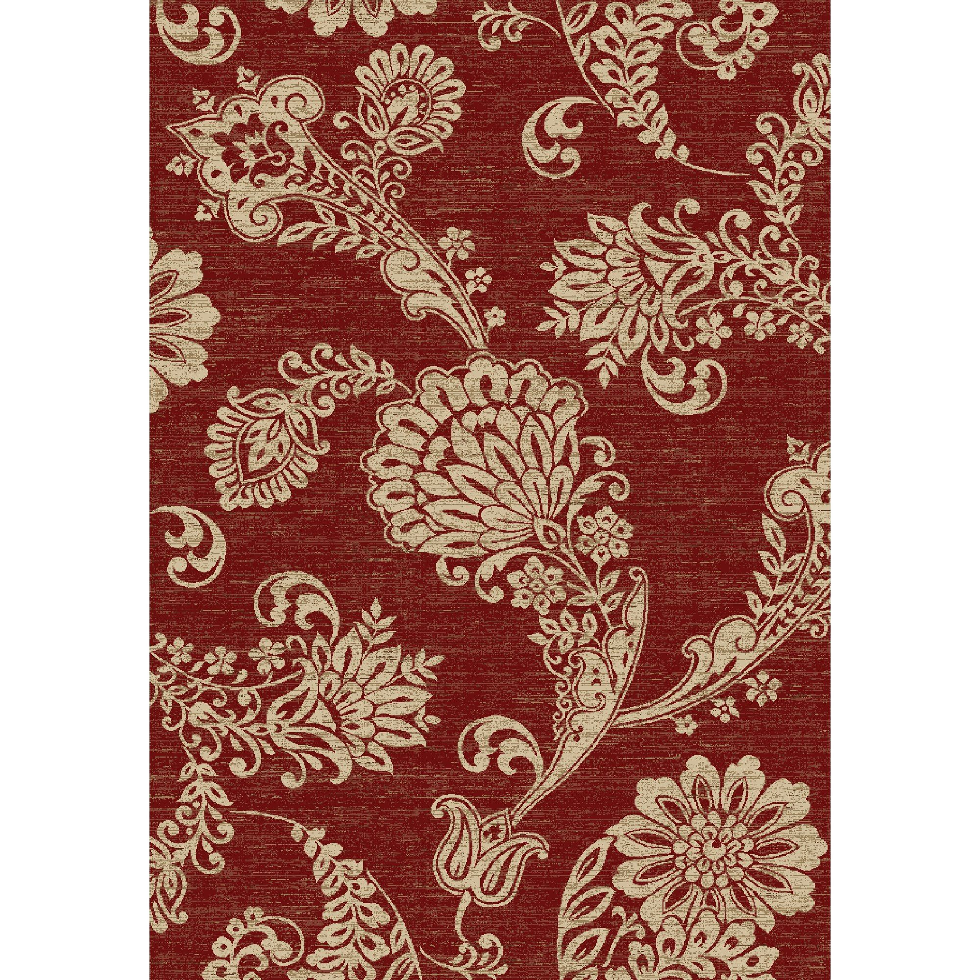 Concord Global Trading Verona Paisley Flower Red Area Rug
