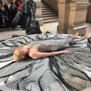 Iris van Herpen's brilliant #3Dprinting of a dress onto Gwendoline Christie during Paris fashion week!  #irisvanherpen #gwendolinechristie #3dprinted #pfw #fashion #style #art #design #avantgarde #inspiration #costumedesign #costumedesigner #details #textiles #texture #futuristic #scifi by tyrannyofstyle