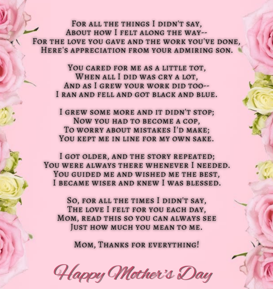 Happy Mothers Day Poem From Son