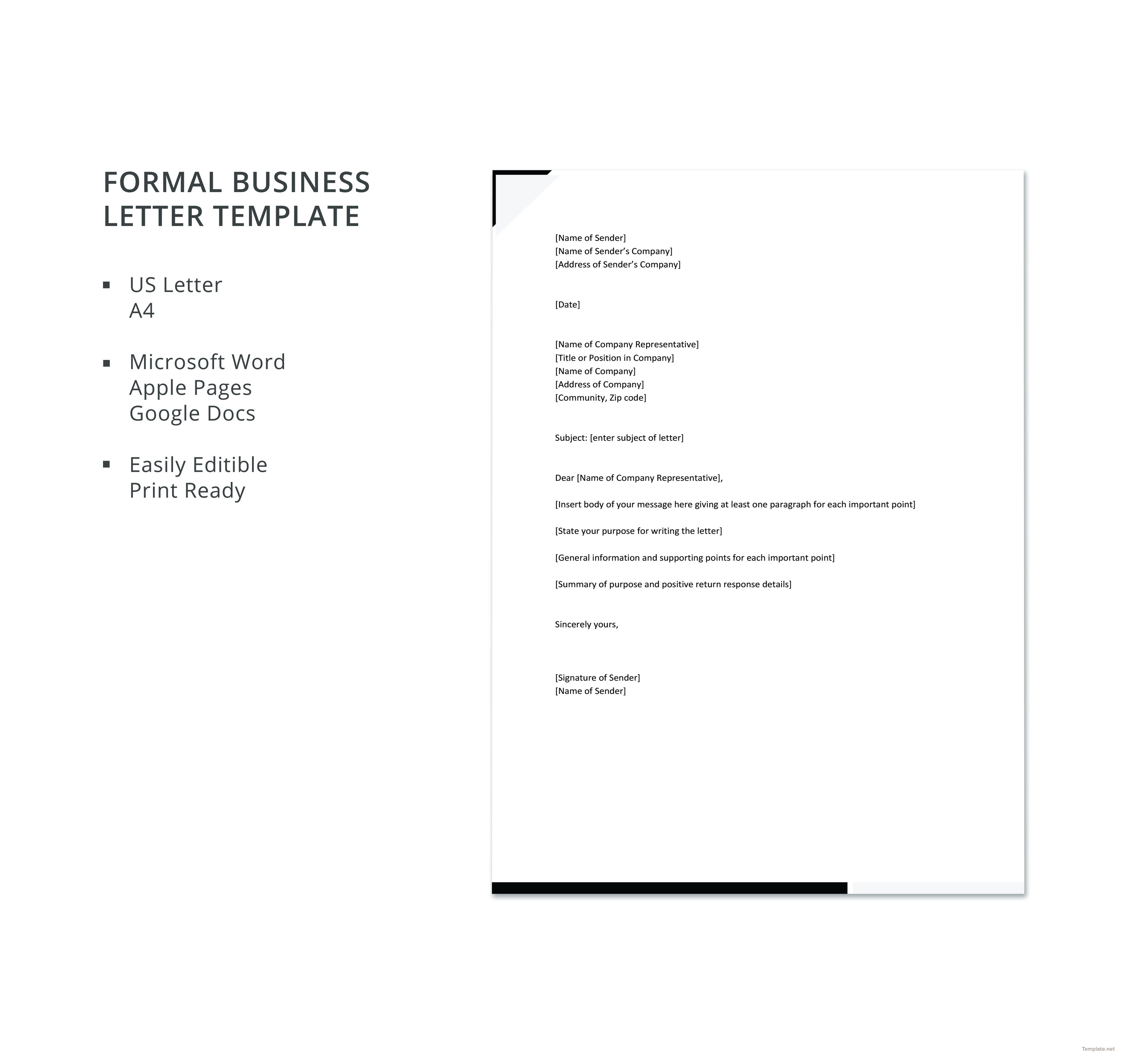 Free Formal Business Letter Template Business letter