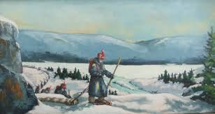 """""""La grande marche/The Unforgettable March"""", huile/oil, 12×24, par/by Pauline Morneault (Fredericton Regional Museum) The regiment is perhaps best known for its 1,100-km winter march from Fredericton to Kingston in 1813"""