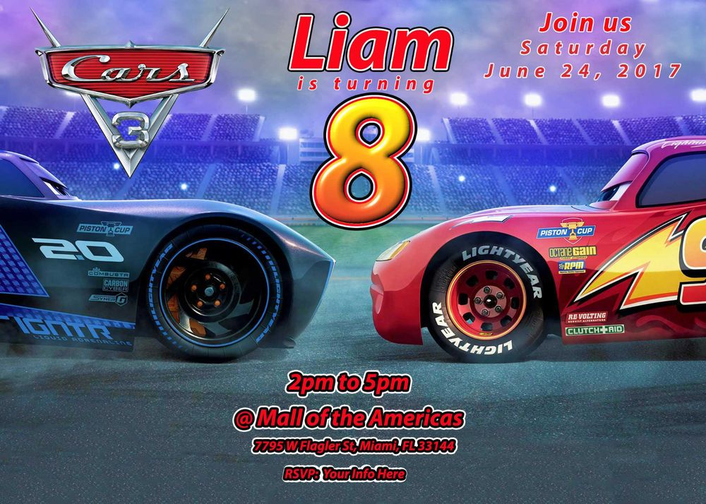 Cars 3 Birthday Party Personalized Custom Invitation Cars3 BirthdayChild