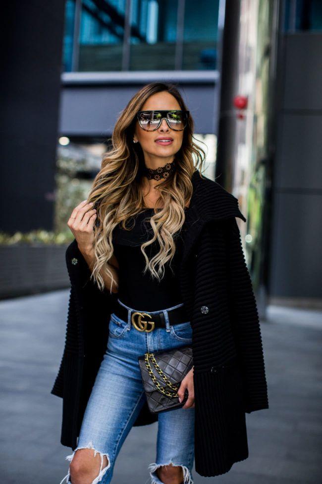 71585941e625 How To Wear A Sweater Coat - Bailey44 Sweater Coat    Topshop Bodysuit     Levi s Jeans    Gucci Double G Belt    Nordstrom Black Booties    Celine ...
