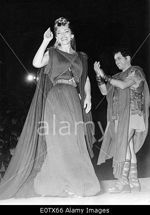 Maria Callas and Mirto Picchi on stage after performing Norma