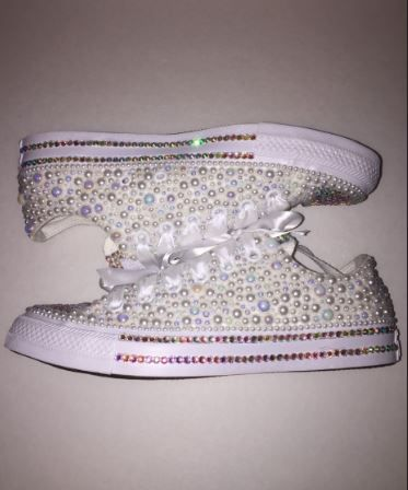 4438ad66c5a9 Bedazzled bling all star chuck taylors converse. white on white chucks   perfect for weddings or special events  Rhinestone and pearl chucks.