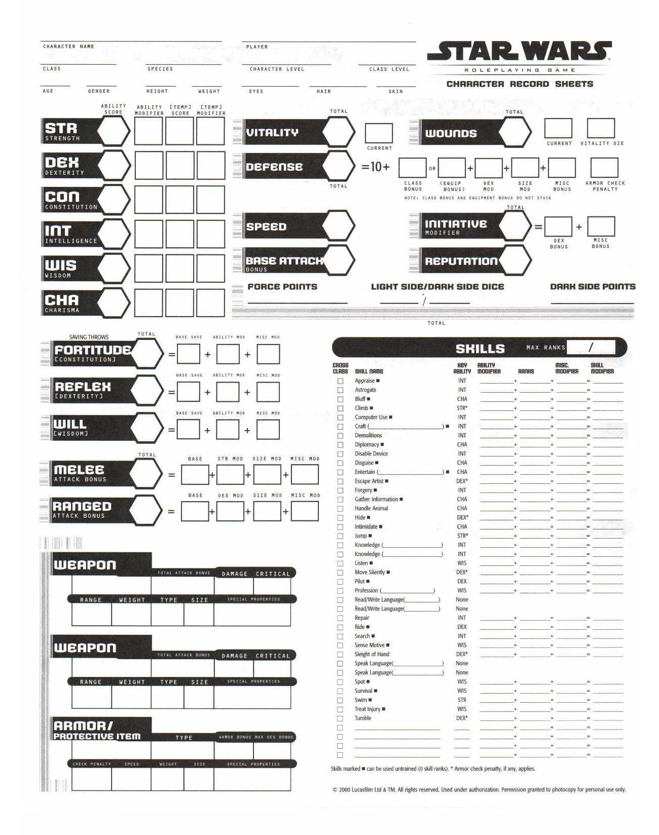 star wars saga character sheet rpg sheets | ... art for the Character Sheets was neat? Well, check ...