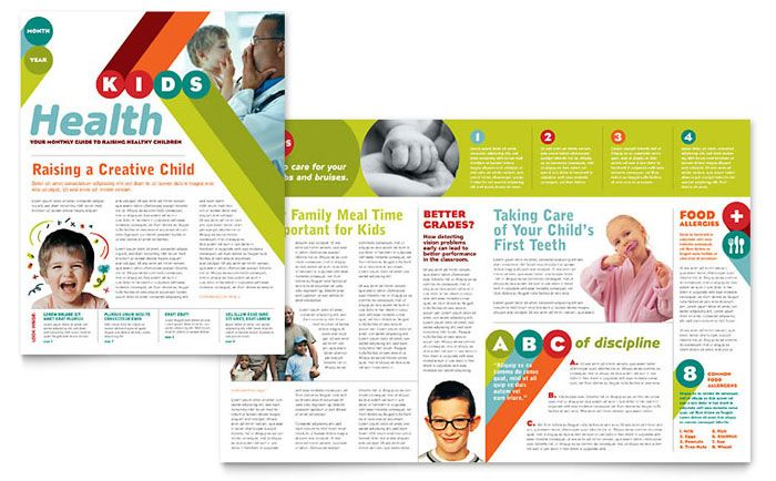 pediatrician and child care newsletter design template by - Newsletter Design Ideas