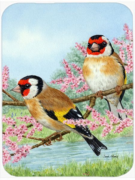 European Goldfinches Glass Cutting Board Large ASA2119LCB