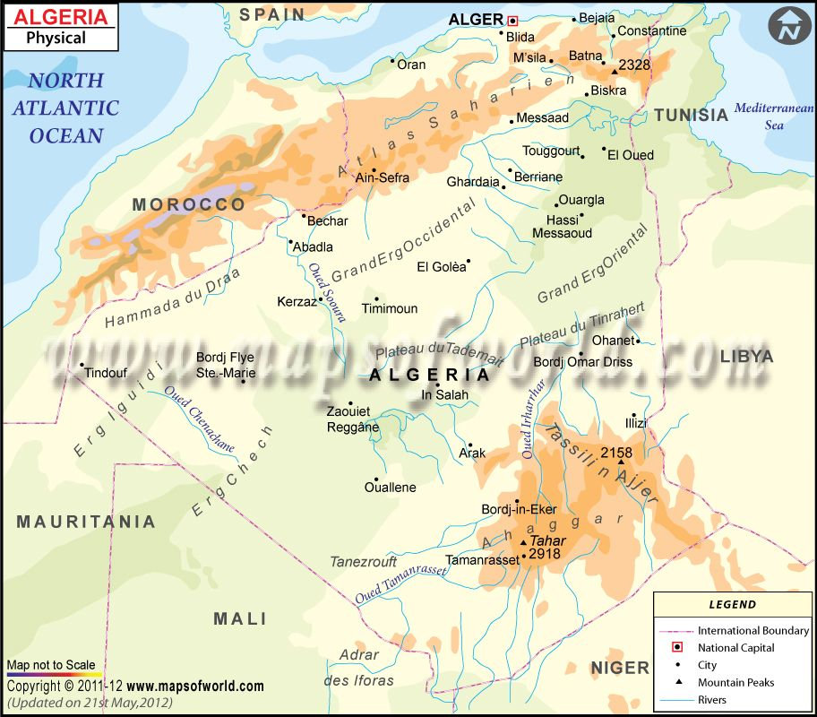 Algeria Physical Map (With images) Physical map