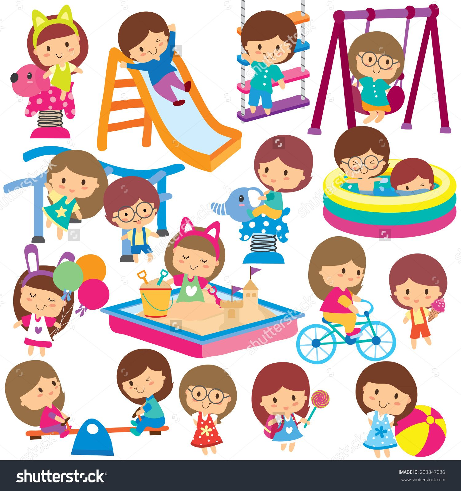 Outdoor Kids Clipart Clip Art Custom Nursery Art