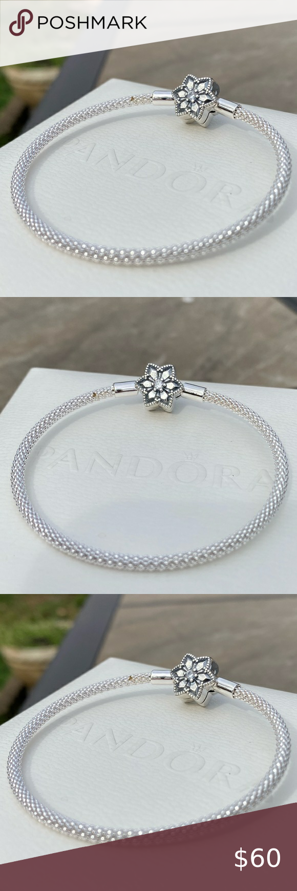 Pandora Jewelry 60% OFF!> Pandora Bright Snowflake Bracelet Authentic Pandora Bracelet This charming bracelet from PANDORA features a graceful bright snowflake charm on a 6.7-inch mesh bracelet fashioned in lustrous PANDORA Silver. The message Shine Bright decorates the back of the charm to complete the look. The bracelet secures in place with a PANDORA clasp. Item 598616C01-21 Pandora Jewelry Bracelets #Jewelry #PANDORA #style #Accessories #shopping #styles #outfit #pretty #girl #girl...